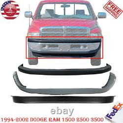 3pc Front Bumper Cover Valance Combo Kit, For 1994-2002 Dodge Ram 1500 2500 3500