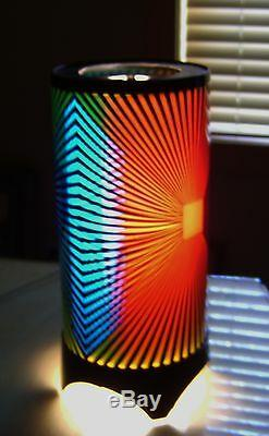 70's Motion Psychedelic Retro Rotating Heat Lamp NOS Zebra Pattern