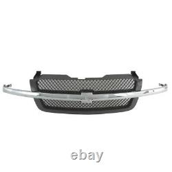 AM New Front Gray Grille withChrome Molding Bar For 03-07 Chevy Silverado Plastic
