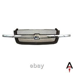 Black Grille Mesh Insert with Chrome Center Bar For 2003-2006 Chevy Silverado 1500