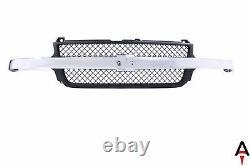 Black Grille Mesh Insert withChrome Bar For 01-02 Chevrolet Silverado 2500 3500 HD