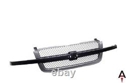 Black Grille with Mesh Insert Gray For 03-07 Chevy Silverado 1500 2500 3500 Pickup