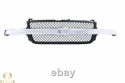 Black Grille withChrome Bar Molding For 01-02 Silverado Pickup Truck 2500 HD 3500