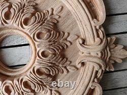 Ceiling Medallion Oak Wood Carved Rosette Architecture Ornament Moulding Element
