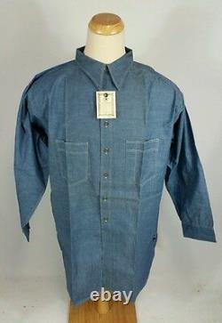 Dead stock NOS Vtg 1930's Chin Strap Chambray Denim Work Shirt Salt Pepper XXL