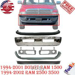 Front Bumper Chrome Steel + Covers Kit For 1994-2002 Dodge Ram 1500 2500 3500