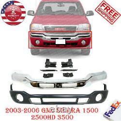 Front Bumper Chrome Steel + Valance + Bracket For 2003-07 GMC Sierra 1500 3500