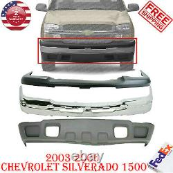 Front Bumper Chrome + Upper Cover & Lower Valance For 03-06 Chevy Silverado 1500