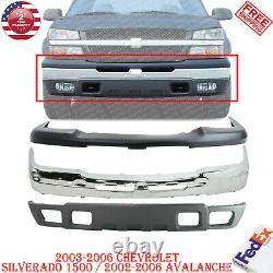 Front Bumper Chrome +Upper Cover+ Valance For 2003-2006 Chevrolet Silverado 1500