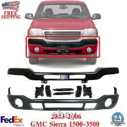 Front Bumper Primed Steel with Brackets + Cover For 03-06 GMC Sierra 1500-3500