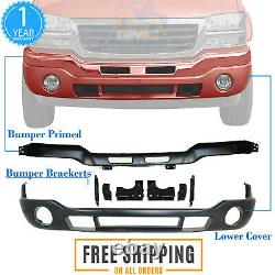 Front Bumper Primed Steel with Brackets + Valance For 03-06 GMC Sierra 1500-3500