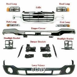 Front Bumper with Brackets+Valance+Grille + Lights For 2003-2006 GMC Sierra 1500
