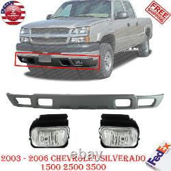 Front Lower Valance + Fog Lights For 2003-2007 Chevy SILVERADO 1500 2500 3500