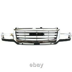 Grille 03-07 For GMC Sierra 2500/3500 HD Chr Shell withBlack Insert Fit 07 Classic
