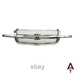 Grille All Chrome with Mesh Insert for 03-07 Chevy Silverado 1500 2500 3500 Pickup