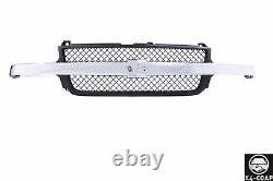 Grille Black Shell With Chrome Bar for Chevrolet Silverado 2500 3500