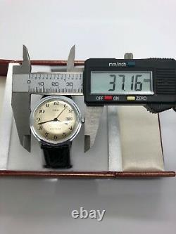 NEW OLD STOCK Vintage Timex Big Size Men's Manual Wind Silver Tone Day Date