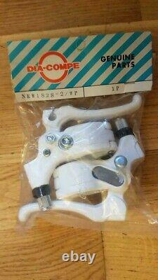 NOS BMX DIA COMPE TECH 77 WHITE BRAKE LEVERS SET JAPAN STAMPED NIP 90's