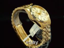 NOS Croton Men's Diamond Dial Miyota Automatic Fluted Bezel Gold Plated SS Watch