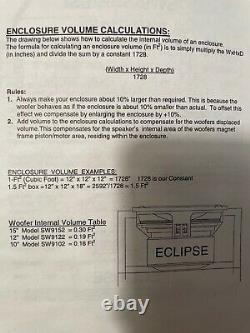 NOS Eclipse Titanium SW9152 15 Subwoofer, Old School Legend, SPL, Audiophile