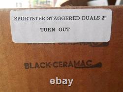 NOS Mac 57-85 Harley Davidson Sportster Staggered Duals Exhaust 2 Black Turnout