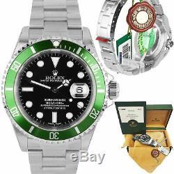 NOS STICKERED 2003 Rolex Submariner KERMIT Green FLAT 4 Steel F 16610LV V Watch