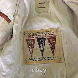 NOS Vintage 1990 Avirex Varsity Leather Jacket Solid Orange Size Large