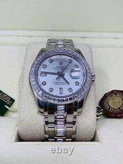 ROLEX 18956 Platinum Masterpiece Glacier Blue Dial Diamond Bezel NOS RARE WOW