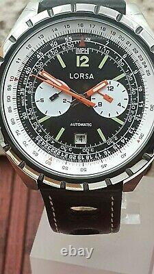Retro LORSA NOS-Style Automatikuhr watch Tachymeterskala Date very rare