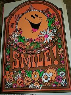 SMILE BE HAPPY 1971 VINTAGE BLACKLIGHT NOS POSTER By LASPEY -NICE