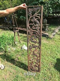 VTG Cast Iron Railing Architectural Salvage Rail Piece Garden GRAPES 52''x10.5'
